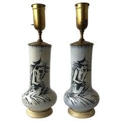 Pair of 1950s Blue Ceramic Asian Figural Lamps