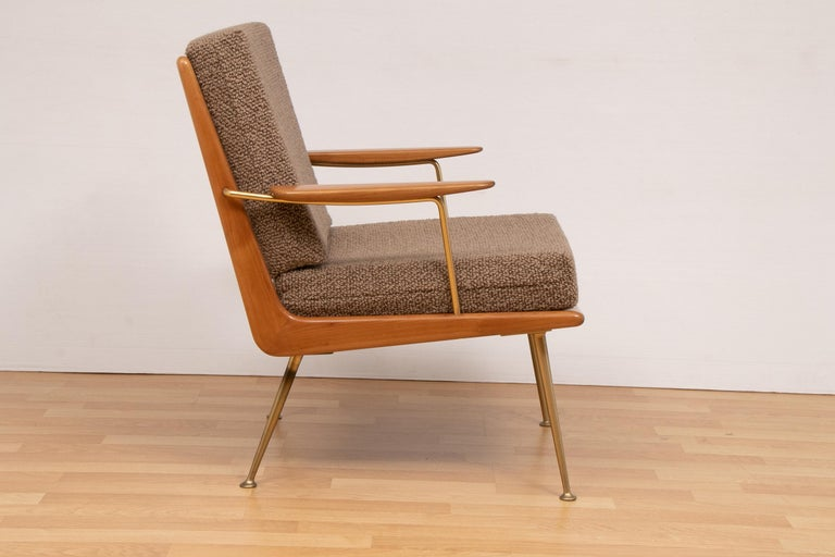 Pair of 1950s boomerang armchairs designed by Hans Mitzlaff and Eugen Schmidt. Manufactured by Soloform/Eugen Schmidt in Germany. Designed in 1953 with a solid cherrywood frame. Restored and reupholstered in Bute fabric. In very good vintage
