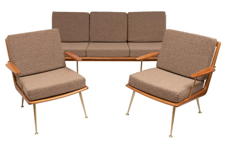 Brass Pair of 1950s Boomerang Cherrywood Armchairs Hans Mitzlaff for Soloform, Germany