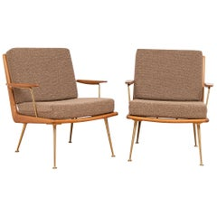 Pair of 1950s Boomerang Cherrywood Armchairs Hans Mitzlaff for Soloform, Germany