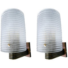Pair of 1950s Brass and Clear Pebbled Murano Glass Sconces