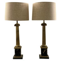 Pair of 1950s Brass and Marble Column Table Lamps by Stiffel and Re Wired