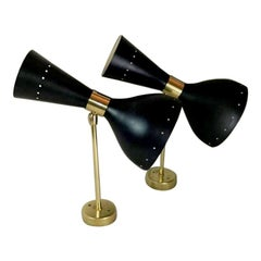 Stilnovo Style Italian Pair of Brass  Sconces Diabolo Model 1955