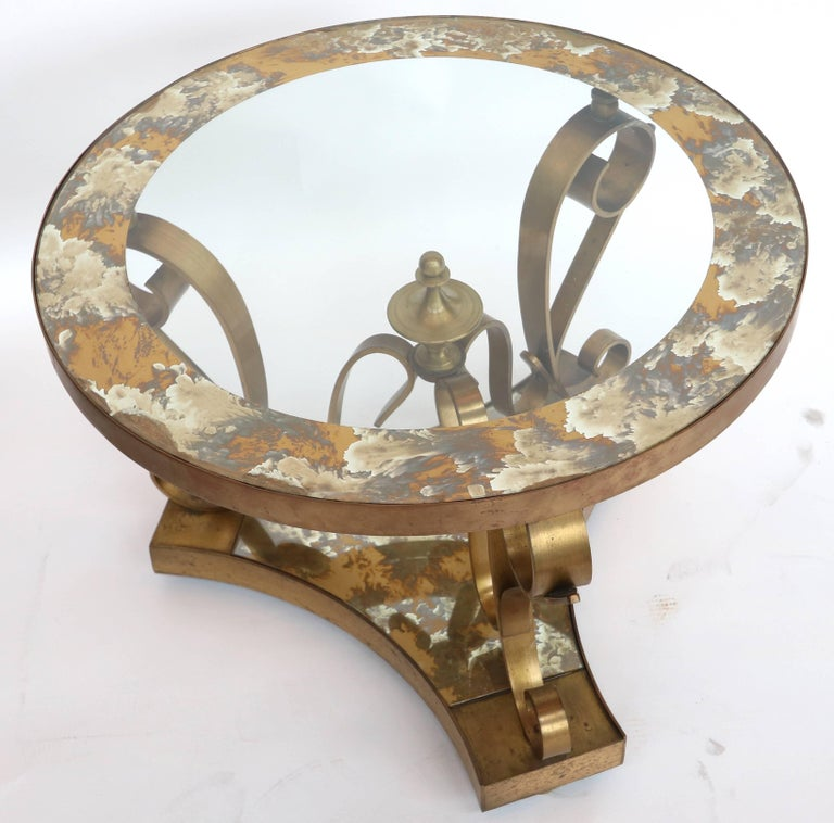Pair of 1950s Brass Side Tables by Arturo Pani with Glass Top For Sale 2