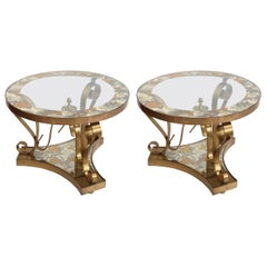 Pair of 1950s Brass Side Tables by Arturo Pani with Glass Top