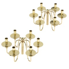 Pair of 1950s Brass Tommi Parzinger Candelabras