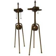 Pair of 1950s Brass Tri Pod Table Lamps
