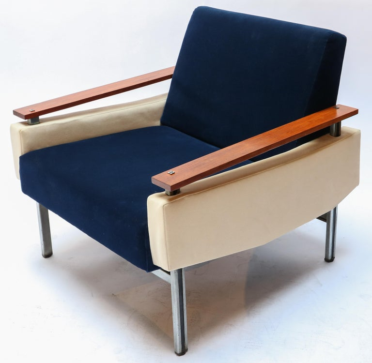 Chrome Pair of Brazilian Caviuna Two-Tone Blue and Beige Velvet Armchairs, 1950s For Sale