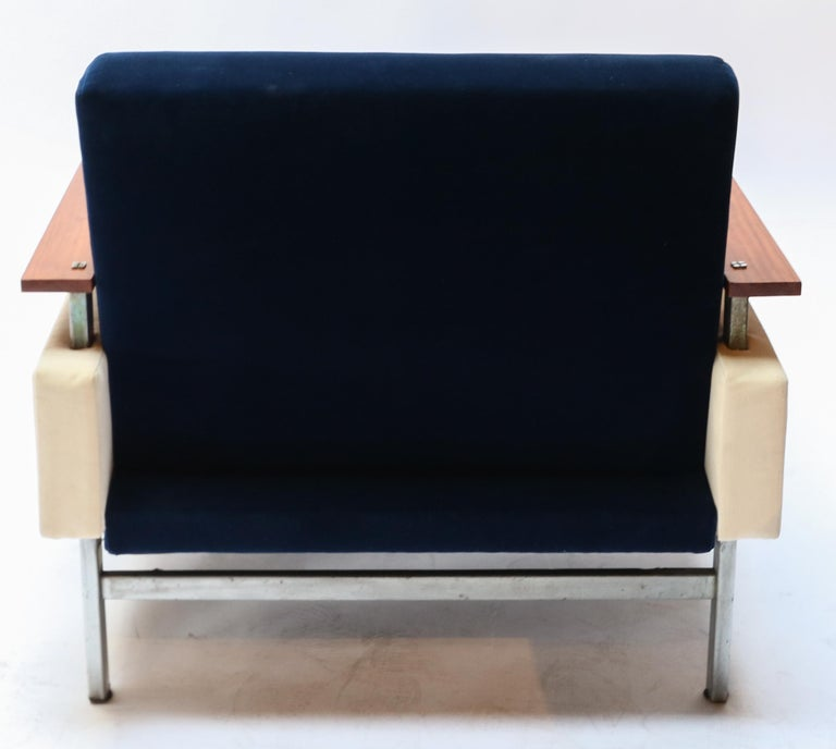 Pair of Brazilian Caviuna Two-Tone Blue and Beige Velvet Armchairs, 1950s In Good Condition For Sale In Los Angeles, CA