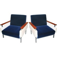 Pair of 1950s Brazilian Caviuna Two-Tone Velvet Armchairs