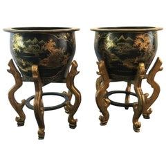 Pair of 1950s Chinoiserie Papier Mâché Black Lacquer Gilt Painted Jardinieres