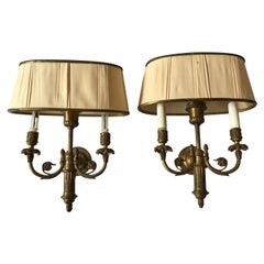 Pair of 1950s Classical Brass Sconces with Shades