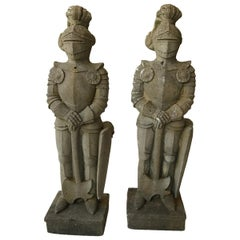 Pair of 1950s Concrete Knights