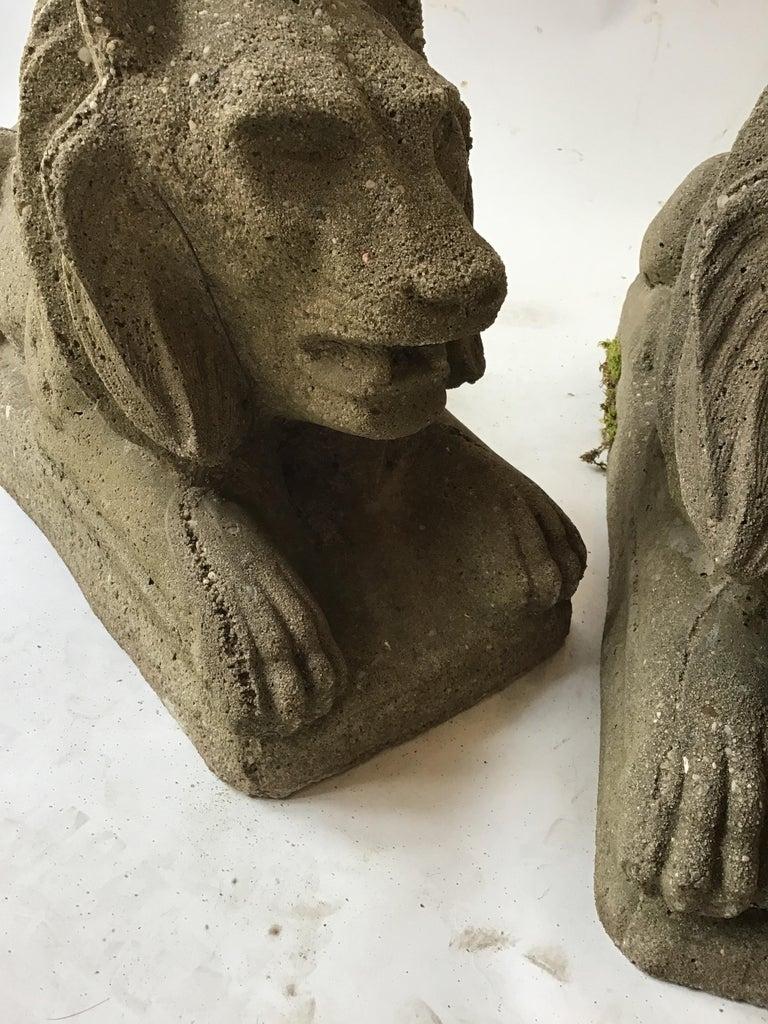 Pair of 1950s Concrete Lions For Sale 6
