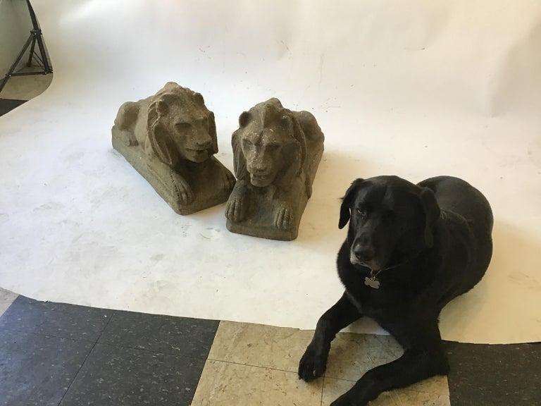 Pair of 1950s Concrete Lions For Sale 7