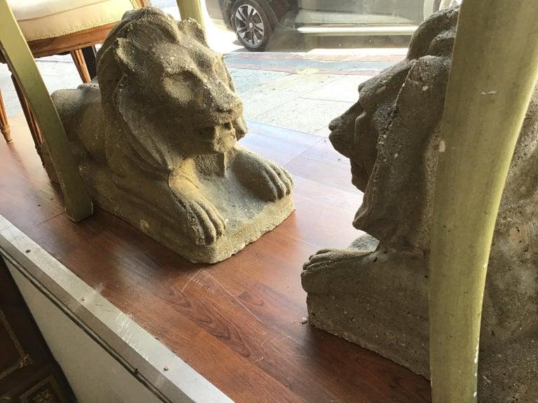 Pair of 1950s Concrete Lions For Sale 8
