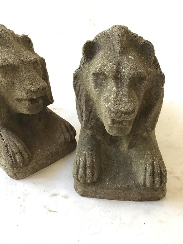 Mid-20th Century Pair of 1950s Concrete Lions For Sale