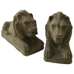 Pair of 1950s Concrete Lions