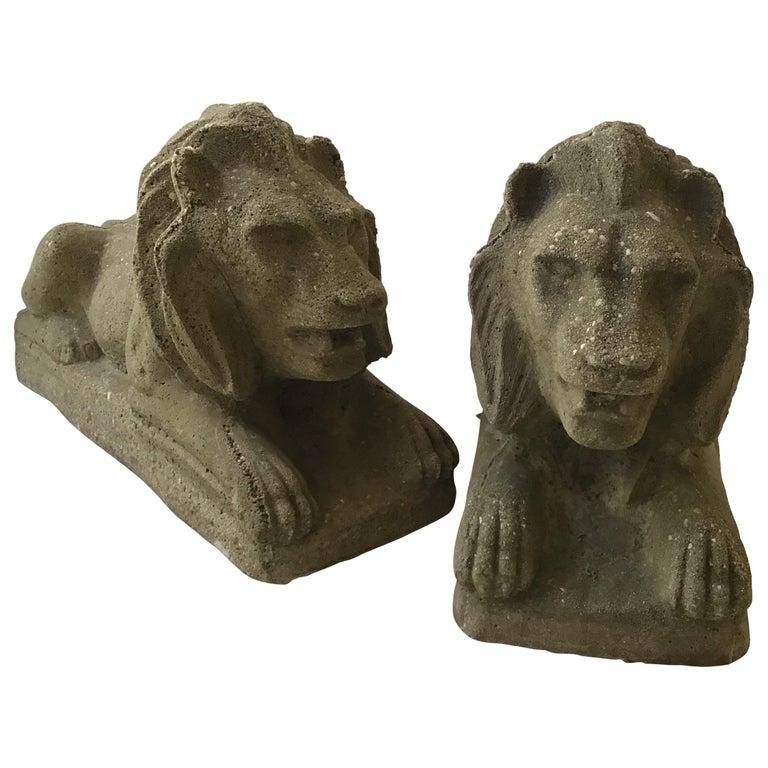 Pair of 1950s Concrete Lions For Sale