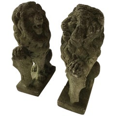 Pair of 1950s Concrete Lions