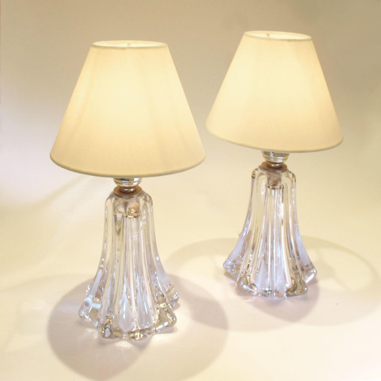 Pair of 1950s twisted crystal table lamps by the renowned Belgian crystal manufacturers.