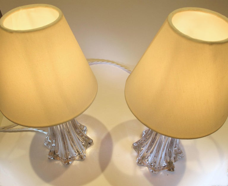 Mid-Century Modern Pair of 1950s Crystal Lamps by Val Saint-Lambert Lamps For Sale