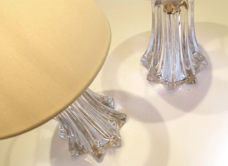Belgian Pair of 1950s Crystal Lamps by Val Saint-Lambert Lamps For Sale