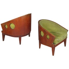 Pair of 1950s Curved Back Lounge Chairs