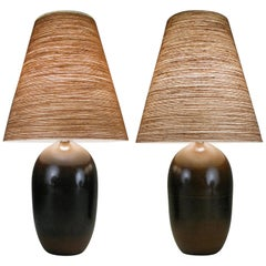 Pair of 1950s Danish Ceramic Lamps by Gunnar and Lotte Bostlund