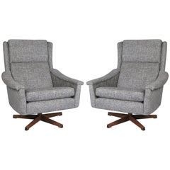 Pair of 1950s Danish High Back Swivel Lounge Chairs
