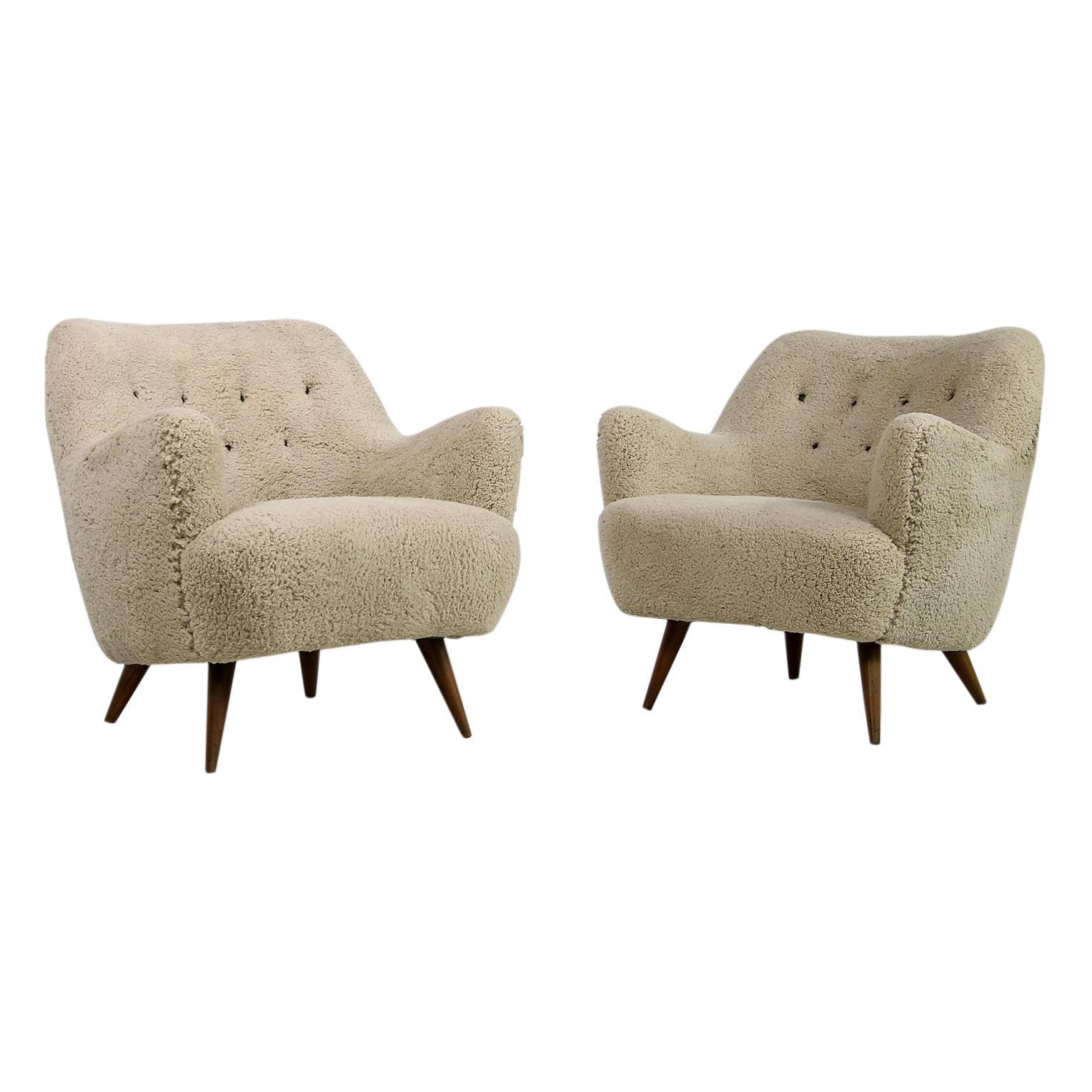 Pair of 1950s Danish Modern Organic Lounge Chairs Faux Sheepskin, Denmark