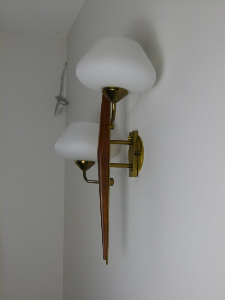 Pair of 1950s Double Sconces in Opalin Glass by Maison Lunel For Sale 3