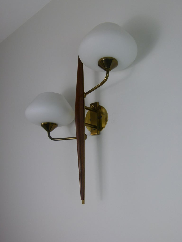Pair of 1950s Double Sconces in Opalin Glass by Maison Lunel For Sale 4
