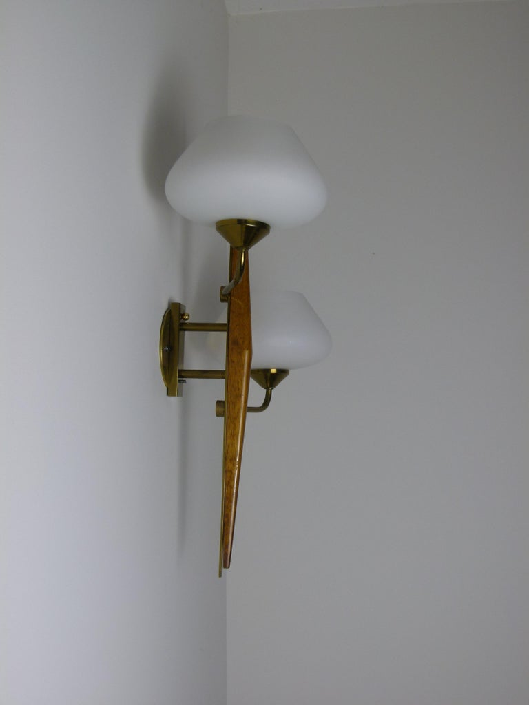 Pair of 1950s Double Sconces in Opalin Glass by Maison Lunel For Sale 6