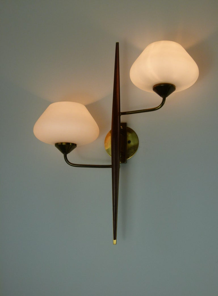 Pair of 1950s Double Sconces in Opalin Glass by Maison Lunel For Sale 7