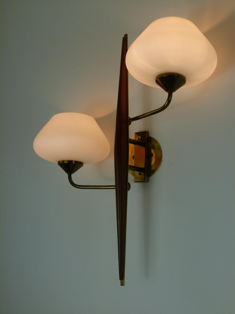 Pair of 1950s Double Sconces in Opalin Glass by Maison Lunel For Sale 8
