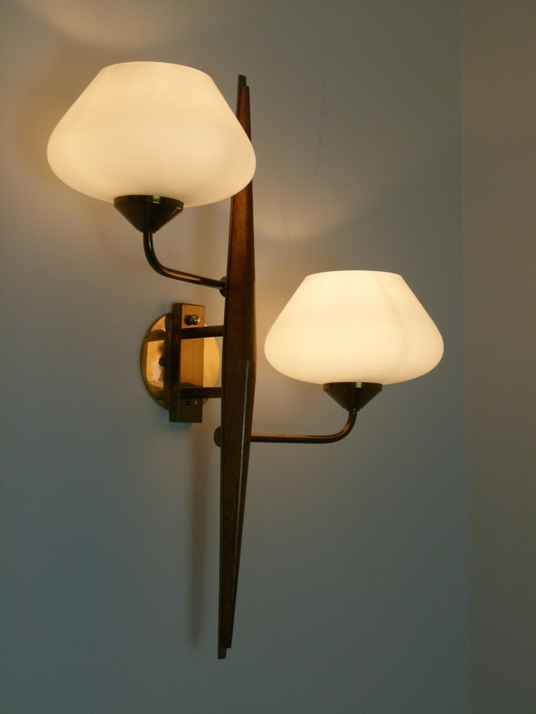 Pair of 1950s Double Sconces in Opalin Glass by Maison Lunel For Sale 9
