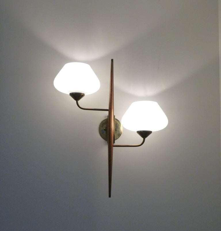 Mid-Century Modern Pair of 1950s Double Sconces in Opalin Glass by Maison Lunel For Sale