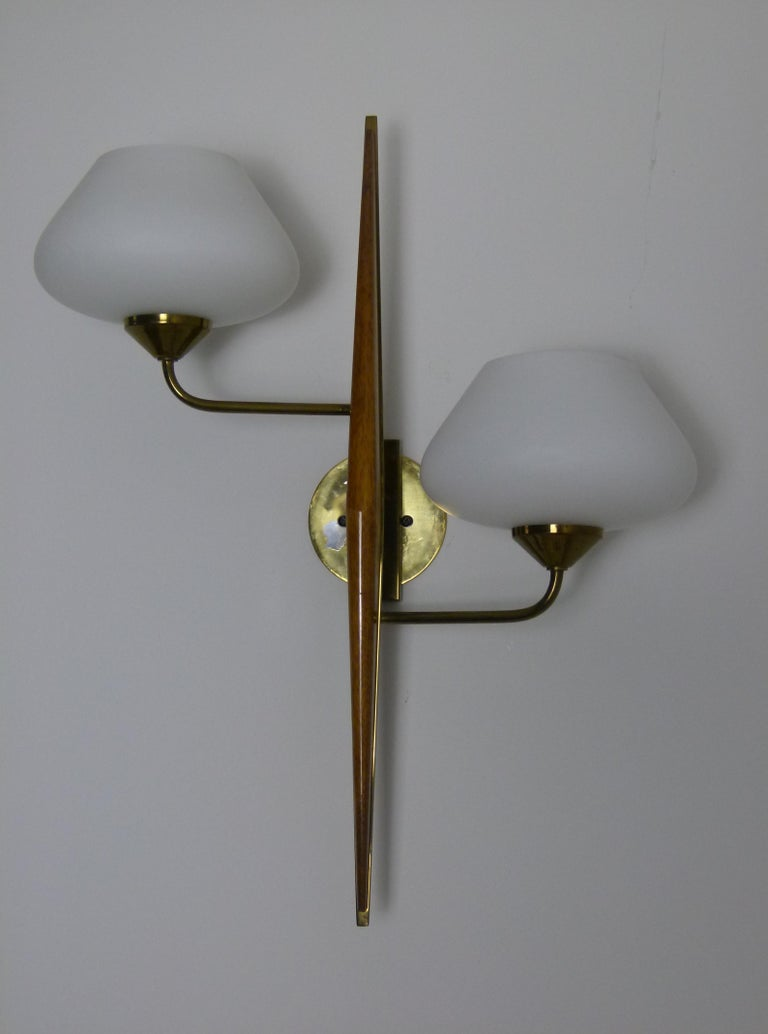 Pair of 1950s Double Sconces in Opalin Glass by Maison Lunel In Excellent Condition For Sale In Saint-Ouen, FR