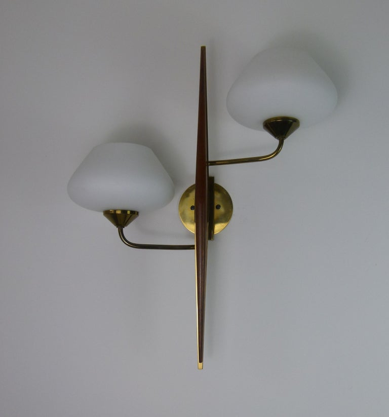 20th Century Pair of 1950s Double Sconces in Opalin Glass by Maison Lunel For Sale