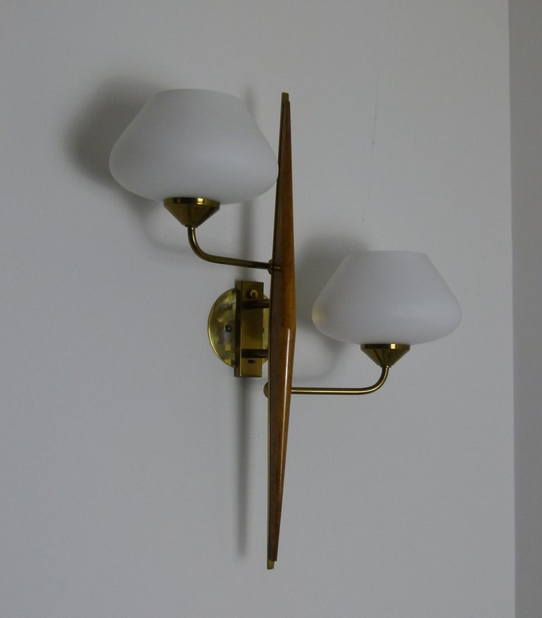 Brass Pair of 1950s Double Sconces in Opalin Glass by Maison Lunel For Sale