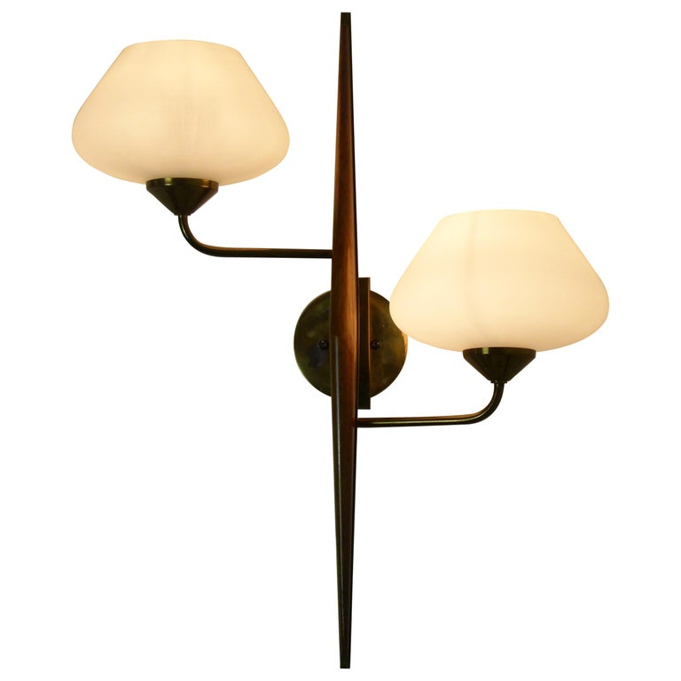 Pair of 1950s Double Sconces in Opalin Glass by Maison Lunel For Sale