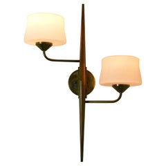 Pair of 1950s Double Sconces in Opalin Glass by Maison Lunel
