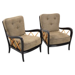 Pair of 1950's Ebonized Armchairs Attributed to Paolo Buffa