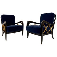 Pair of 1950s Ebonized Italian Armchairs in Blue Mohair Velvet Paolo Buffa Style