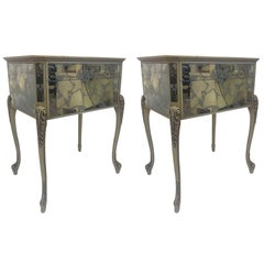 Pair of 1950s Églomisé Nightstands