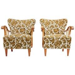 Pair of 1950s Elm Scandinavian Armchairs