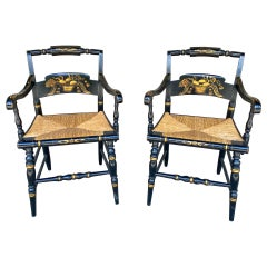 Pair of 1950s English Black and Gold Painted Wood and Rush Seat Armchairs