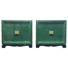Pair of 1950s Faux Green Malachite Chests in the Style of James Mont
