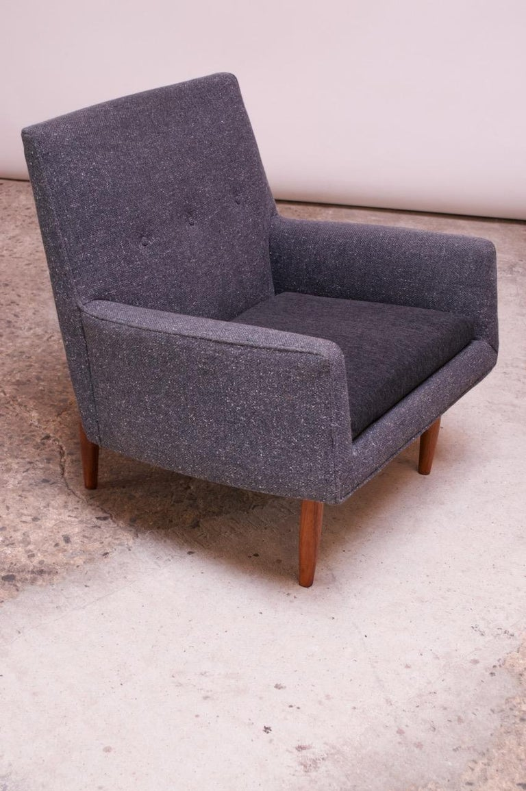 Pair of 1950s Floating Walnut Lounge Chairs by Jens Risom For Sale 4